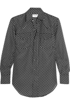SAINT LAURENT Polka-dot cotton and silk-blend shirt