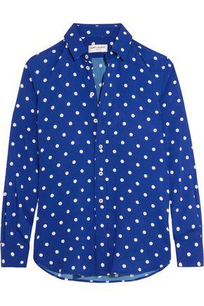 SAINT LAURENT Polka-dot crepe de chine shirt