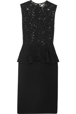 SAINT LAURENT Lace and wool-blend peplum dress