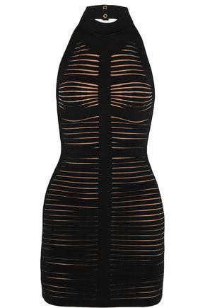 BALMAIN Cutout ribbed stretch-knit mini dress