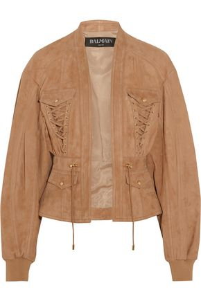 BALMAIN Lace-up suede jacket