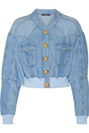 BALMAIN Cropped chambray bomber jacket