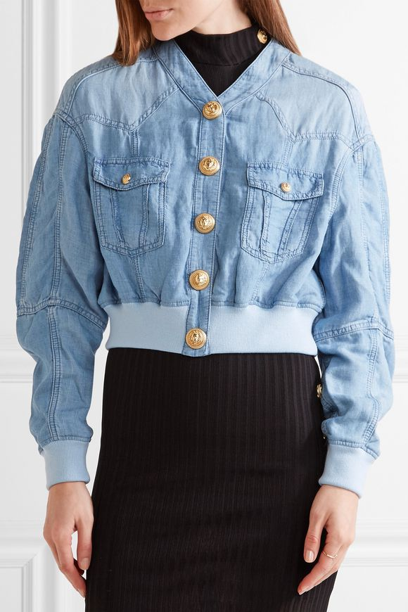 Cropped chambray bomber jacket | BALMAIN | Sale up to 70% off | THE OUTNET