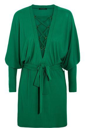 Balmain Dresses WOMAN LACE-UP CREPE MINI DRESS GREEN