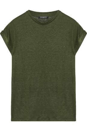 BALMAIN Slub stretch linen-blend jersey T-shirt