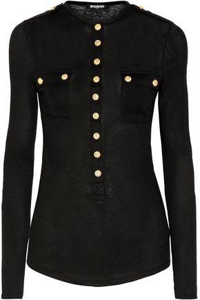 BALMAIN Slub linen-blend jersey top