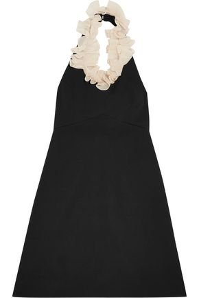 ISA ARFEN One-shoulder asymmetric ruffled cotton-blend dress