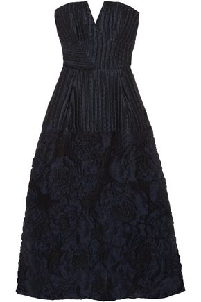ROLAND MOURET Aldrich strapless linen-blend cloqué midi dress