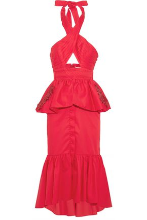JOHANNA ORTIZ Antillana cutout ruffled cotton halterneck midi dress