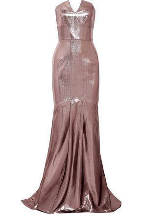 ROLAND MOURET Brenner strapless lamé gown