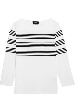 A.P.C. Striped cotton-jersey top