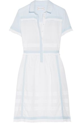 CHINTI AND PARKER Two-tone ruffled cotton-voile dress