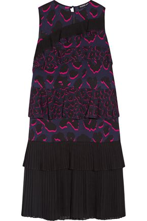 MARKUS LUPFER Tiered ruffled leopard-print silk-georgette dress
