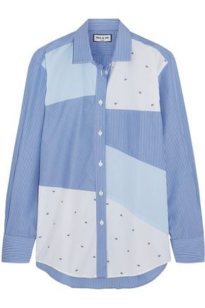PAUL & JOE Patchwork striped cotton shirt