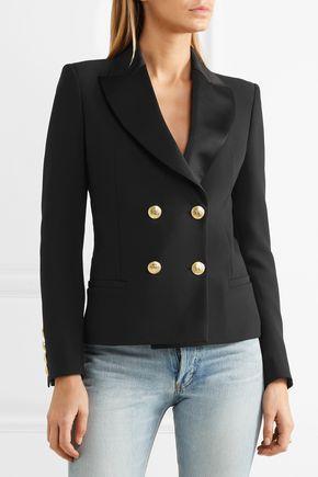 ... PIERRE BALMAIN Double-breasted crepe blazer ...