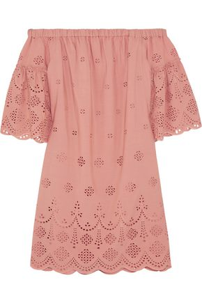 MADEWELL Off-the-shoulder broderie anglaise mini dress