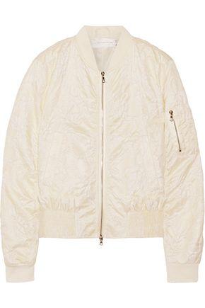 VICTORIA, VICTORIA BECKHAM Ruffle-trimmed matelassé bomber jacket