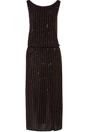 MARC JACOBS Wrap-effect glitter-embellished stretch-knit dress