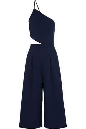 MICHELLE MASON One-shoulder cutout stretch-crepe jumpsuit