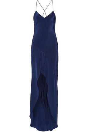 MICHELLE MASON Open-back asymmetric silk-satin gown