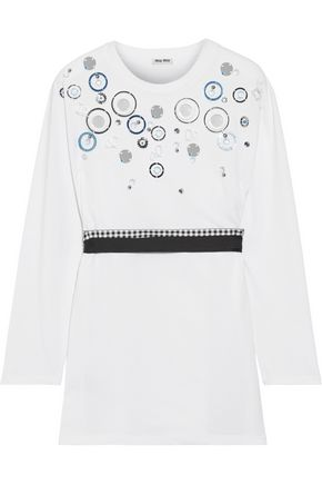 MIU MIU Embellished cotton-jersey top
