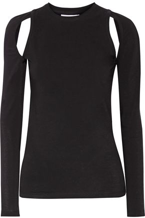 DKNY Cutout stretch-cotton jersey top