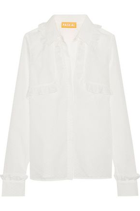 PASKAL Ruffle-trimmed laser-cut cotton-blend shirt