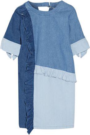 SJYP Ruffled paneled denim mini dress