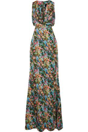 CUSHNIE ET OCHS Christina cutout floral-print silk-charmeuse gown