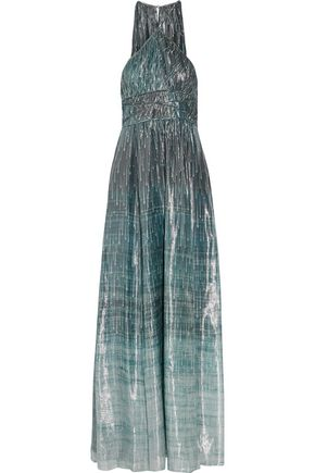 RACHEL ZOE Deven printed silk-blend lamé gown