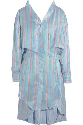 ESTEBAN CORTAZAR Asymmetric striped silk mini dress