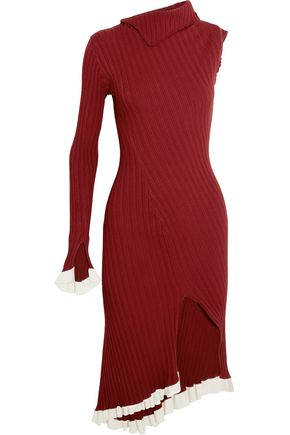 ESTEBAN CORTAZAR Asymmetric one-shoulder ribbed stretch-knit dress