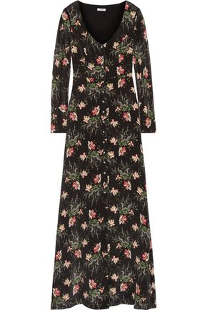 VILSHENKO Printed silk crepe de chine maxi dress