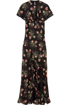 VILSHENKO Bella cape-effect printed silk-georgette maxi dress
