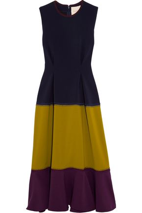 ROKSANDA Paneled stretch-cady midi dress