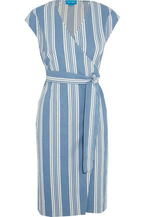 M.I.H JEANS Frankie striped cotton-chambray wrap dress