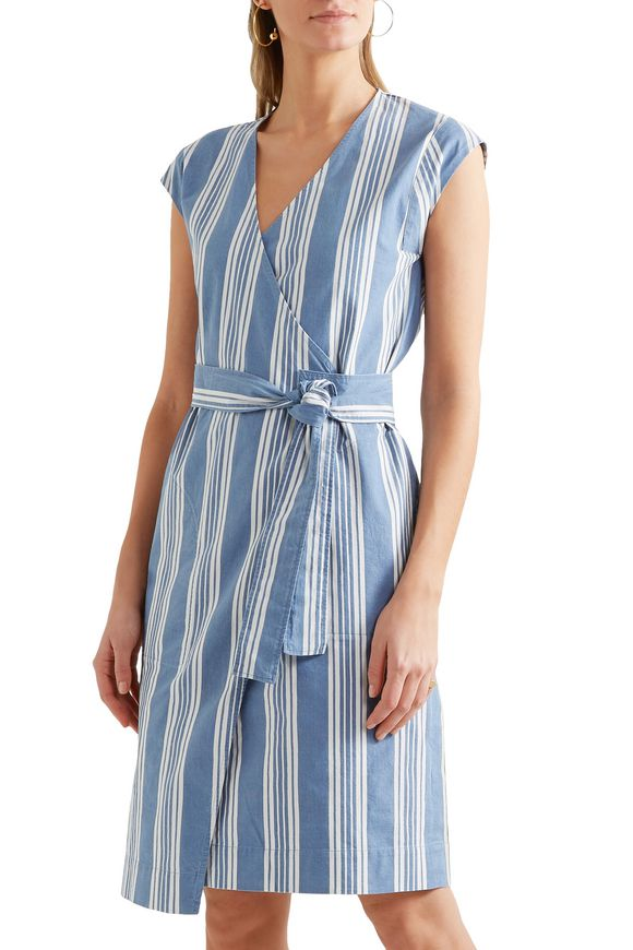 Frankie striped cotton-chambray wrap dress   M.I.H JEANS   Sale up to 70%  off   THE OUTNET