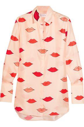 VICTORIA, VICTORIA BECKHAM Appliquéd printed silk-twill shirt