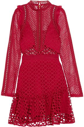 SEE BY CHLOÉ Ruffled georgette-trimmed guipure lace mini dress