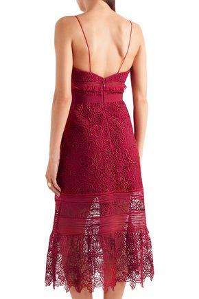 SELF-PORTRAIT Ruffled georgette-trimmed guipure lace dress