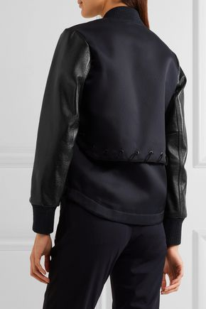 ... TIM COPPENS Lace-up leather and twill bomber jacket