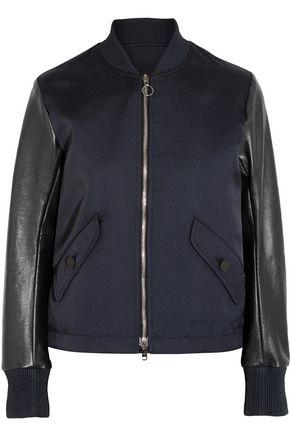 TIM COPPENS Lace-up leather and twill bomber jacket
