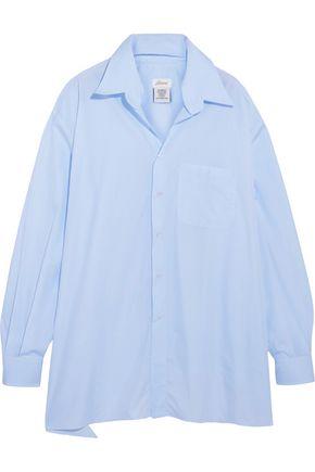 VETEMENTS + Brioni oversized frayed cotton-poplin shirt