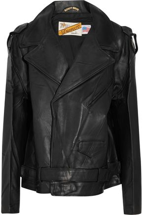 VETEMENTS + Schott Perfecto oversized leather biker jacket