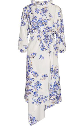 VETEMENTS Asymmetric floral-print stretch-crepe wrap dress