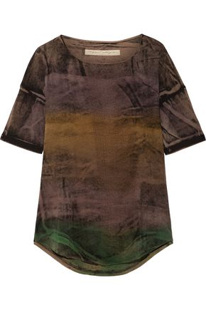 RAQUEL ALLEGRA Distressed tie-dyed stretch cotton-blend T-shirt