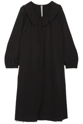 RAQUEL ALLEGRA Harlequin frayed textured-crepe dress