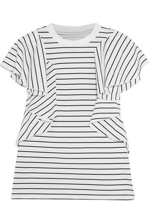 FACETASM Ruffled striped cotton-jersey T-shirt