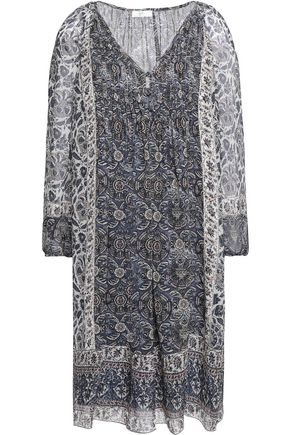 JOIE Foxley pintucked printed silk-crepe mini dress