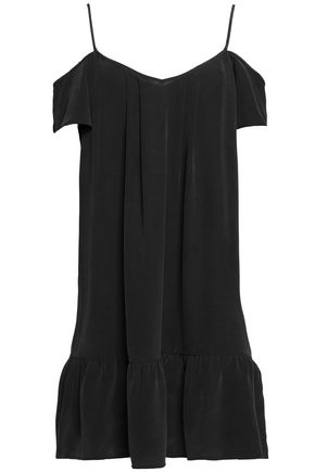 JOIE Cold-shoulder silk crepe de chine mini dress